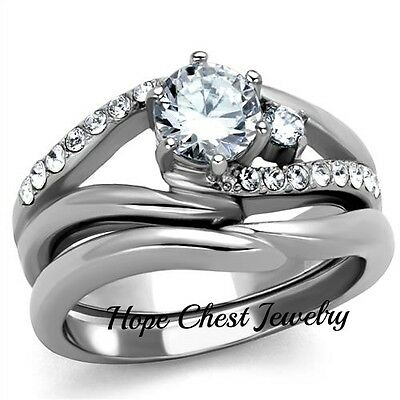 WOMEN'S STAINLESS STEEL 0.75 CT ROUND CUT CZ ENGAGEMENT WEDDING RING SET SZ 5-10