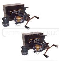 Double Handle Deluxe Oakwood Carp Btr/free Spool Fishing Reel & Line X 2