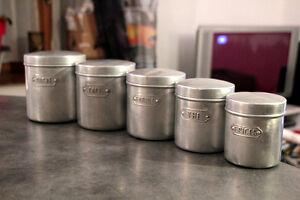 5 french vintage kitchen aluminium canisters ebay