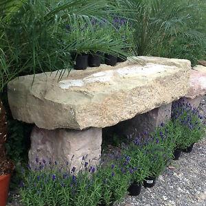 antike gartenbank kr uter tisch pflanztisch natursteine sitzbank mauer steinbank ebay. Black Bedroom Furniture Sets. Home Design Ideas