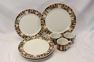 Sakura-Christmas-Patch-Plates-Cups-Crop-Platter-Lot-of-8