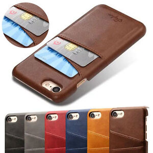 new product 31a82 ce9d2 Details about Card Slot Holder Leather Case Phone Back Cover For iPhone XS  Max XR 6s 7 8 Plus
