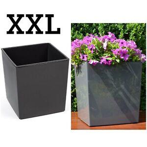 Super Blumenkübel Eckig Hochglanz Übertopf XXL (H:41cm) anthrazit QF39