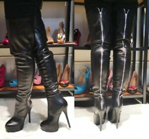 Women-039-s-Stiletto-Heels-Zip-Up-Ladies-Sexy-Over-Knee-Thigh-High-Boots-Shoes-Party