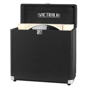Details About Victrola Vintage Vinyl Record Storage Carrying Case For 30+  Records, Black