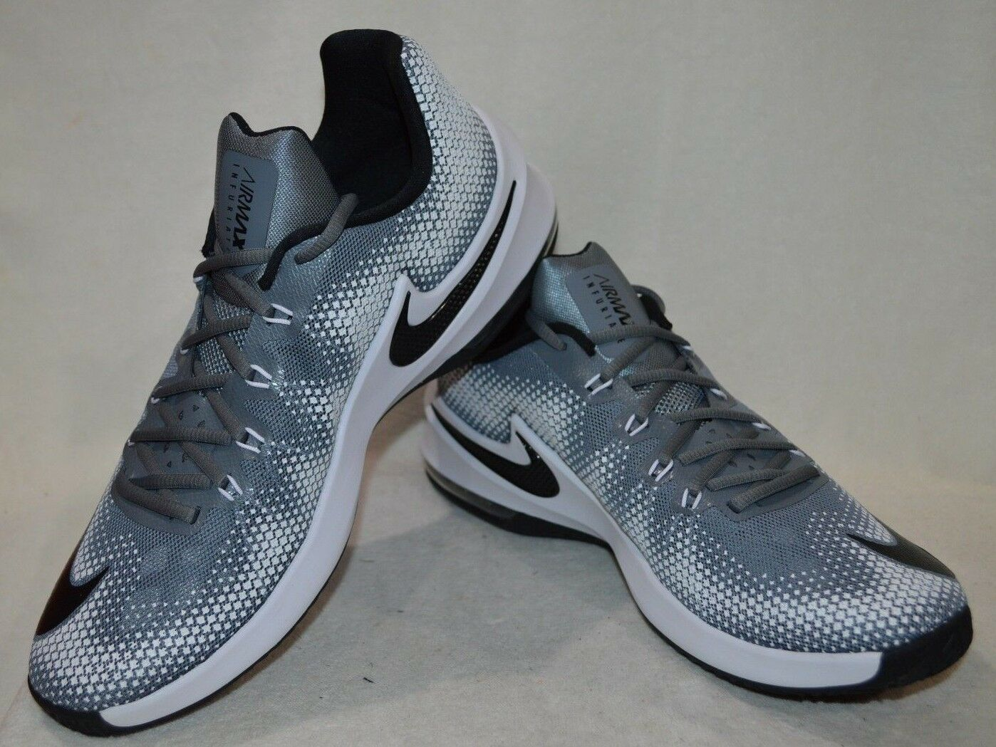 Nike Air Max Infuriate Low Grey/Black/White Men's Basketball Shoes-Asst Size NWB