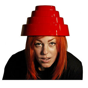 Adult-Men-039-s-Devo-Energy-Dome-Costume-Hat-Red-1980-039-s-New-Wave-034-Whip-It-034-Video