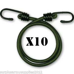 GREEN-MILITARY-BUNGEES-x10-30-INCH-ARMY-CADET-RECRUIT-ELASTIC-CORD-BASHA-TENT