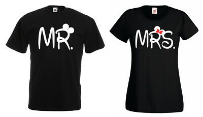 Partner Pärchen Herren Damen Mr. & Mrs. T-shirt Set King Queen Mickey Mini Bff