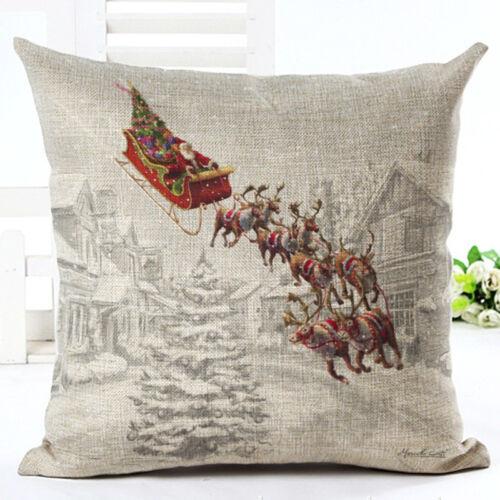 """18/"""" Santa Claus Cotton Linen Home Décor Throw Pillow Case Cushion Cover"""
