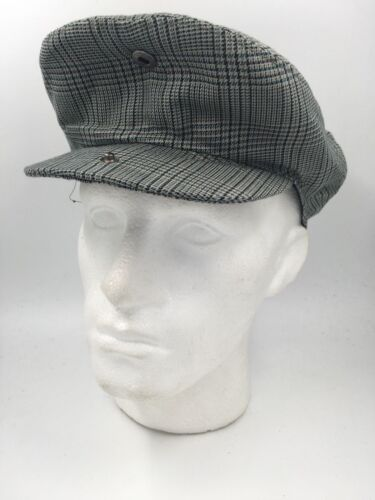 UNISEX BLACK BLUE BEIGE CHECK WOOL BLEND FLAT CAP HW1483 BNWT