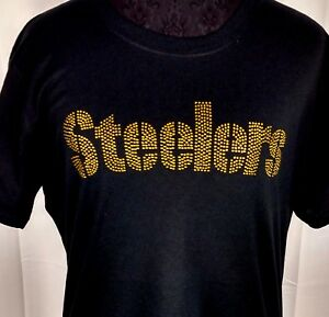 bf53cfb9288 Image is loading Women-039-s-Pittsburgh-Steelers-Rhinestone-Football-T-