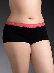 3c8906746 New Torrid Black   Coral Lace Trim Waist Cotton Boyshort Panty Size ...