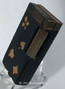 Vintage AQUILUX Petrol Lighter Black Lacquer Card Motif FRANCE Bte SGDG Briquet