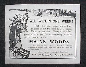 764L-RAILROAD-BOSTON-and-MAINE-CABIN-HUNTING-DEER-1908-ADVERT-REPRINT-11-034-X14-034