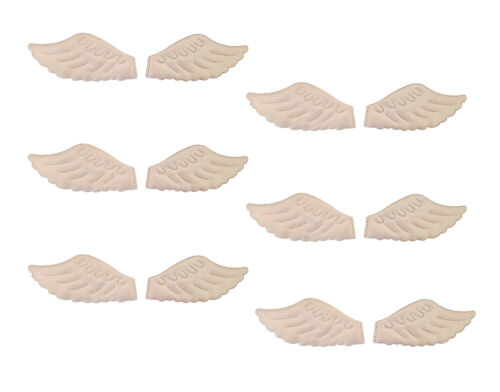 "6 Pair Darice Soft Padded Fabric 4/"" Iridescent White Angel Wings for Doll Making"