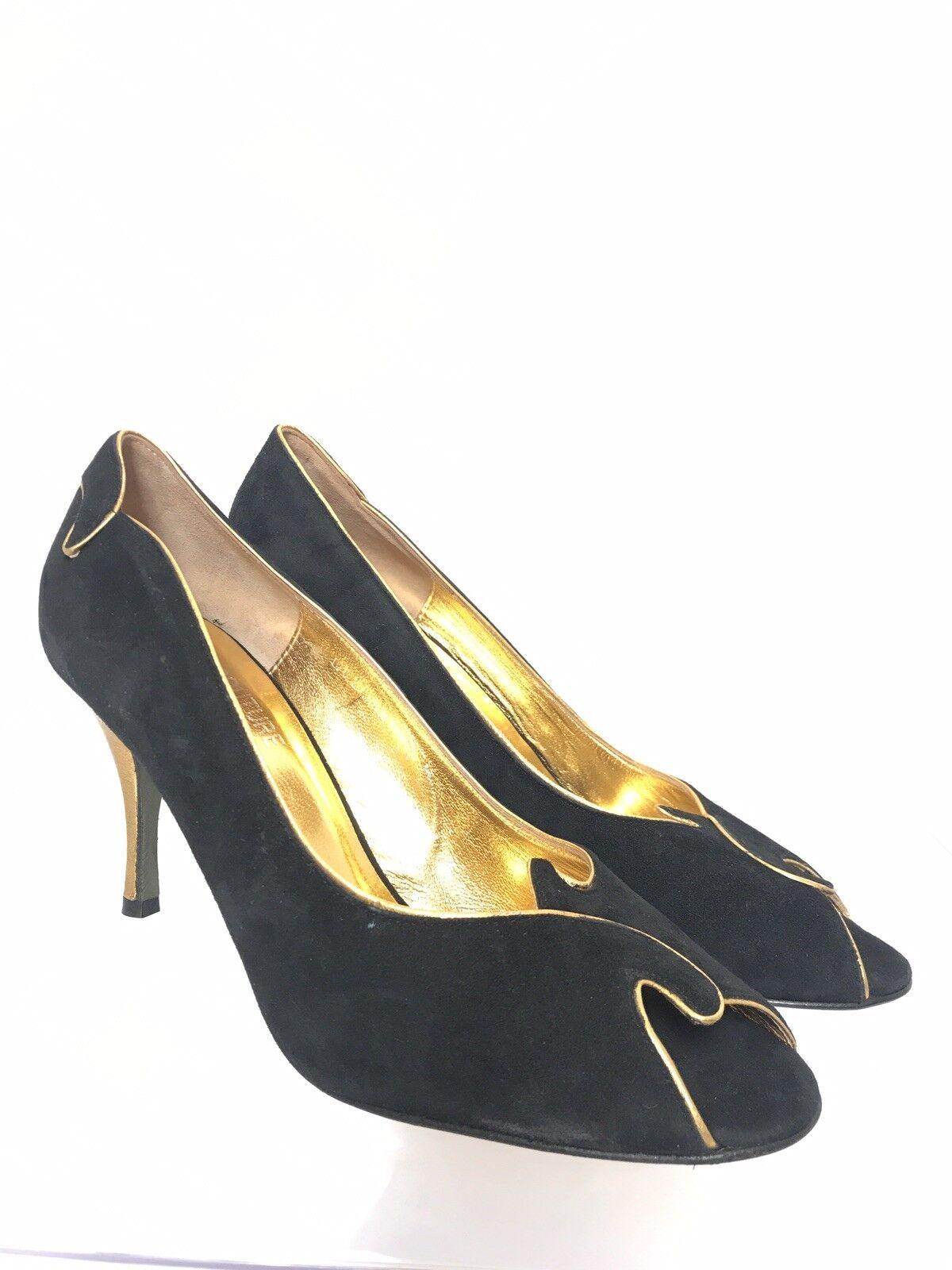 Couture Donald Donald Donald J. Pliner Zest suede  metallic gold Pumps Open Toe size 8 M d95cc8