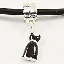 Ladies Little Black Dress Charm Bead Fits European Bracelet Necklace FREEPOST