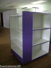 Retail Shelving Rack 4 Sided White Amp Purple Box Shoe Display With Mirror