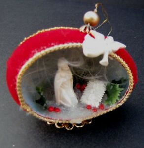 image is loading vintage nativity christmas ornament red velvet angel hair - Angel Hair Christmas Decoration