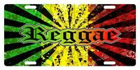 Rasta Flag Colors Custom License Plate Rastafarian Emblem Reggae Version