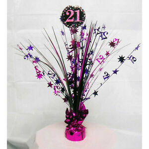 Image Is Loading 21st Birthday Spray Centrepiece Table Decoration Black Pink