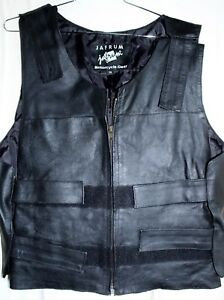 ba4cc508e Details about JAFRUM MOTORCYCLE GEAR MENS XL BLACK LEATHER BIKER VEST  INSIDE GUN POCKET NWOT