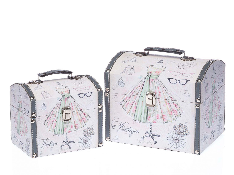 2x beautycase valigia box scatola stile antico legno kosmetikbox BOUTIQUE SCATOLA TESoro