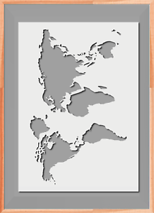 Stencil World Map.World Map Globe Stencil A5 A4 A3 Mylar Reusable Airbrush 125 Micros