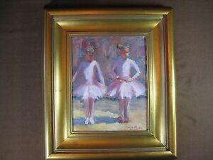 James-Moore-Original-Signed-Oil-Painting-034-Baby-Ballerinas-034-Framed-Size-14-034-x-16-034