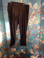 Faded Glory Xl Solid Black Faux Leather Coated Foil Print Legging Pants