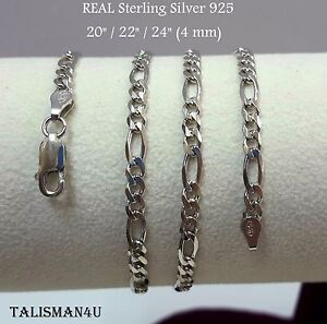 4mm Solid  .925 sterling silver Thick Mens Box chain in All Lengths Real Silver