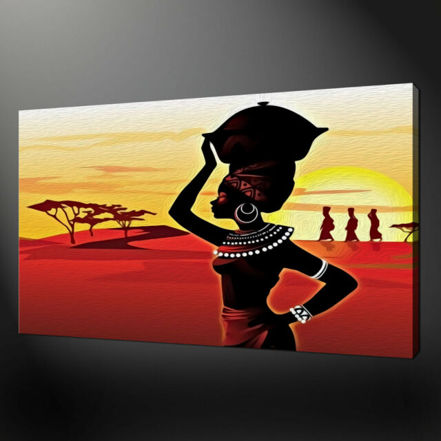 AFRICAN LADY CANVAS WALL ART PICTURES PRINTS VARIETY OF SIZES FREE UK P&P