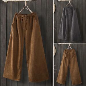 Mode-Femme-Pantalons-en-velours-Couleur-Unie-Taille-elastique-Jambes-larges-Plus