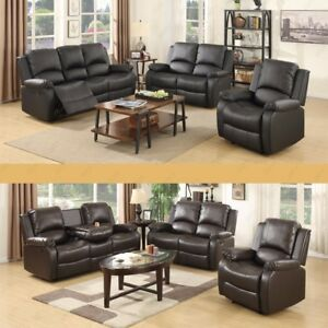 Image Is Loading Leather 3 2 1 Recliner Sofa Set Loveseat