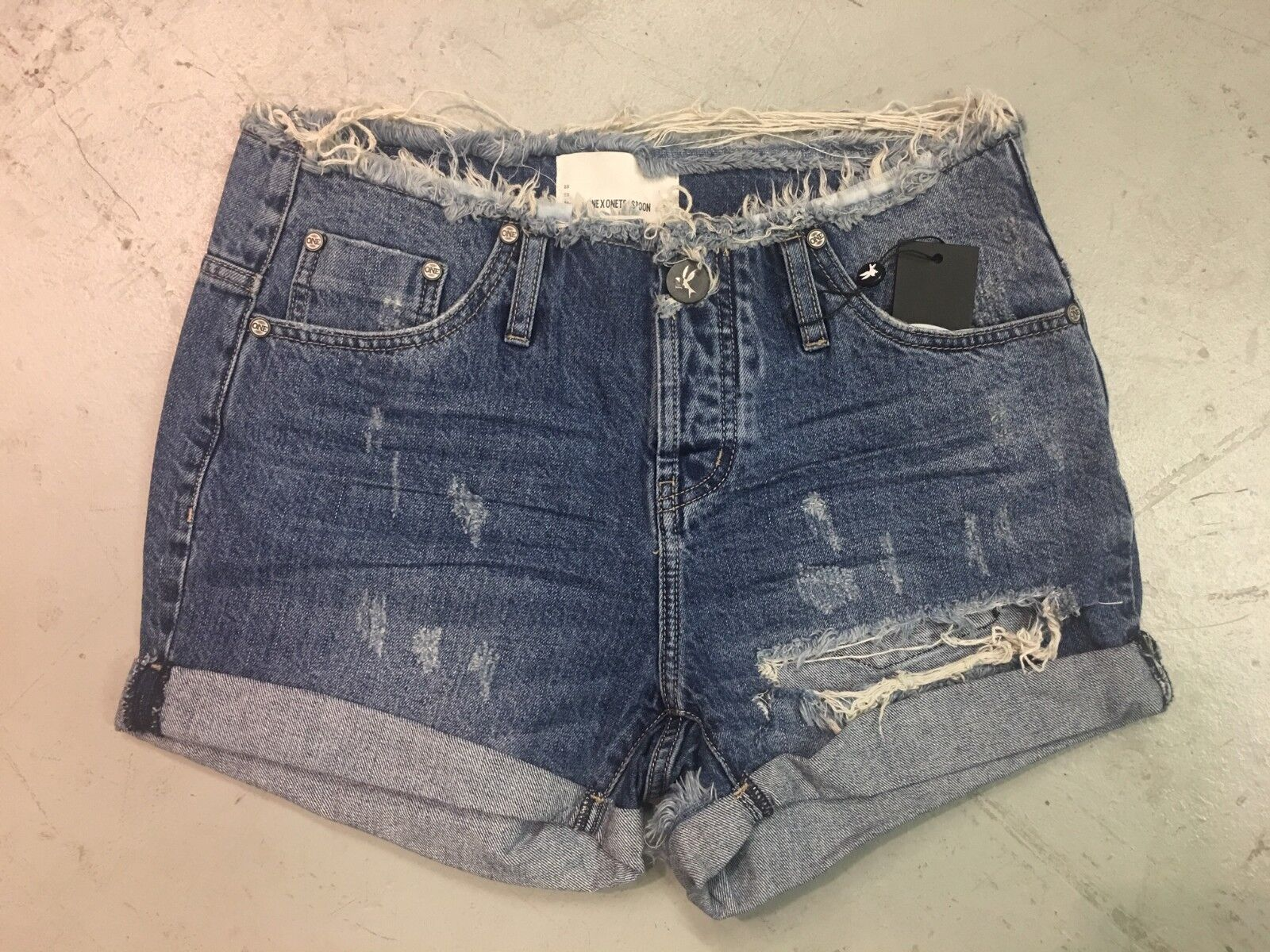 NWT ONE TEASPOON WOMEN'S HIGH WAIST CHARGERS DENIM SHORTS IN OXFORD SIZE 26