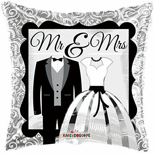 """Carré de mariage 18/"""" feuille hélium ballon Noir /& Argent Mr /& Mrs"""
