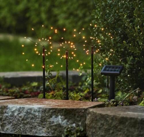 bunt Hängedekoration Gartendeko LED Gartenstecker Solarstäbe 90 LEDs warmweiß o