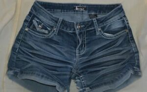 f9354c7a30c Image is loading Sound-Girl-Blue-Jean-Shorts-Distressed-Embellished-Size-