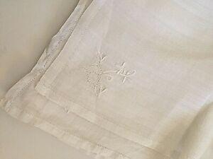 White-Fine-Linen-Vintage-9-Napkins-w-Embroidered-Floral-Design-15-034-Square