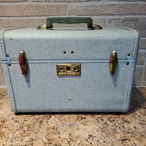 Vtg Samsonite Streamlite Cosmetic Case Train Case No Key Hawaiian Blue Shwayder