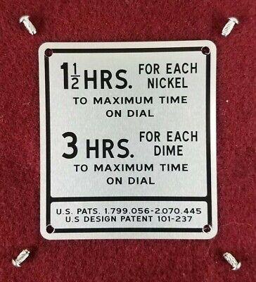 Timer Plate for Back Door Metal Duncan Miller Parking Meter Model 50 Coinage