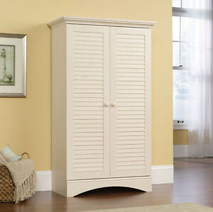 Storage cabinet kitchen pantry tall wood utility cupboard cottage style white ebay - Tall kitchen utility cabinets ...