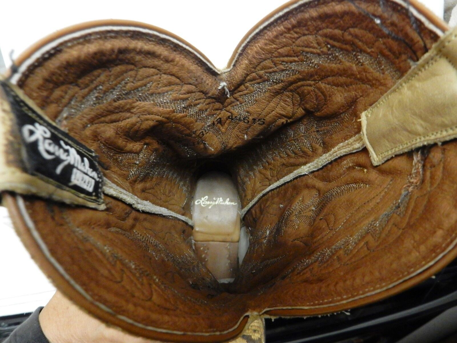 Larry Mahan Cowboy Boots Boots Boots Python Reptile Snakeskin Leather Tan Women's 7 M 49de8d