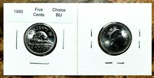 Canada-1990-Five-Cents-Choice-BU-From-an-Original-Roll