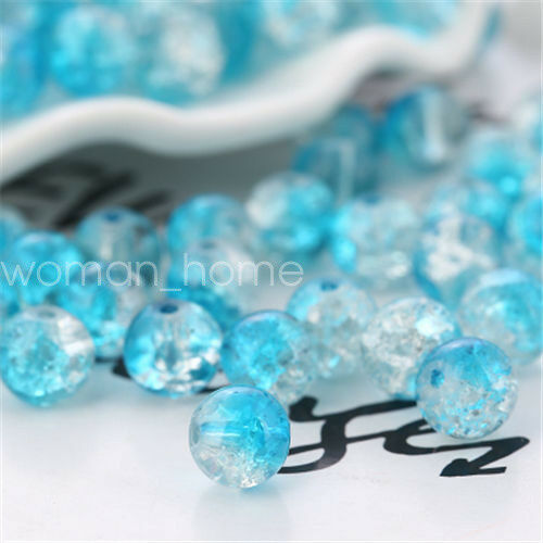 4//6//8//10mm Round Crystal Crack Glass Loose Spacer Beads Jewelry DIY Necklace//F