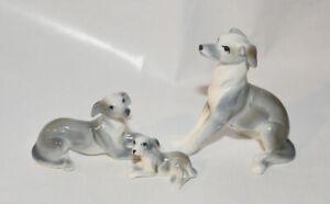 Bone-China-Japan-Whippet-Dog-Figurine-Family