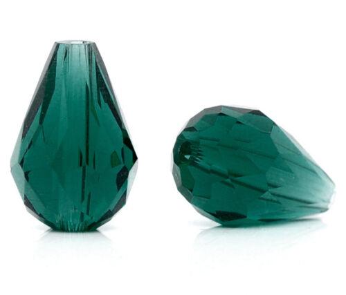 Großverkauf Malachitgrün Strass Glasperlen Facettiert Beads Tropfen 13x8mm