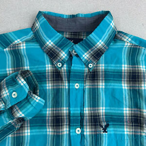 American-Eagle-Button-Up-Shirt-Mens-Medium-Blue-Check-Long-Sleeve-Classic-Fit