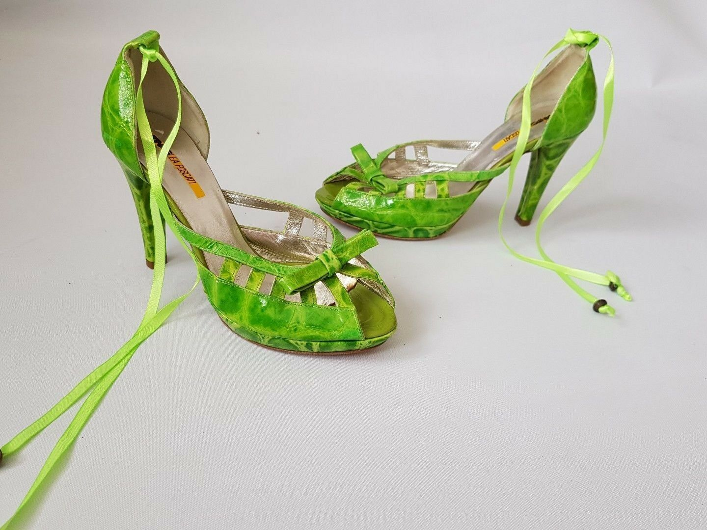 Women's MANAS LEA FOSCATI sandals lime green color size UK 3 BNWOB